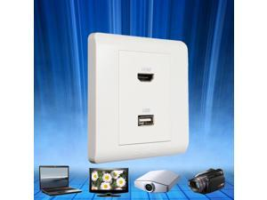 86 type 2port USB+HDMI Wall Plate White Wall Face Plate Panel Outlet Socket