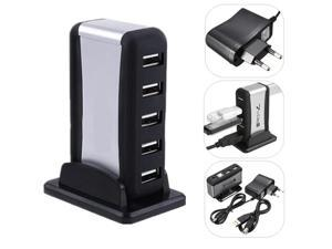EU Plug High Speed 7 Ports USB 2.0 Hub Power Adapter Extension for PC Laptop Desktop