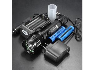 2000LM  XM-L T6 LED 18650 Flashlight Torch Light 5 Modes Waterproof Black + 2*18650 Battery + 18650 Charger + AC/Car Charger For Camping Outdoor Hiking