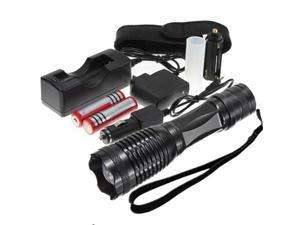 2000 Lumen  XM-L T6 LED Rechargeable Flashlight Torch Zoomable Focus Waterproof Black 5 Modes + 2*18650 Battery + 2*Charger For Outdoor Camping Hiking