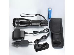 Black 2200LM XM-L T6 LED Zoomable Focus Flashlight Torch Light 5 Modes Waterproof + 3*Charger + 18650 Battery + Flashlight Pouch