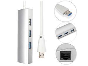 Aluminum 3 Port USB 3.0 Hub+ RJ45 Gigabit Ethernet LAN Adapter Cable For PC MAC Macbook