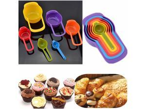 6PCS Colorful Rainbow Measuring Tool Tea Coffee Measure Spoons Cups Multi Coloured For Kitchen Baking