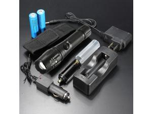 2000LM Lumens CREE XML T6 LED Zoomable Flashlight Torch Lamp 5 Modes Waterproof Black + 18650 Battery + AC/Car Charger + Flashlight Pouch