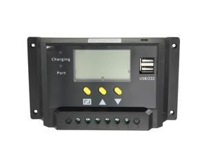 20A 12V 24V LCD Display PWM Solar Power Panel Battery Regulator Charge Controller With Dual USB Port