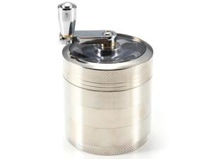 New 55x55mm Tobacco Grinder Aluminum Herb Spice Crusher Muller Hand Crank 5 Part - Silver
