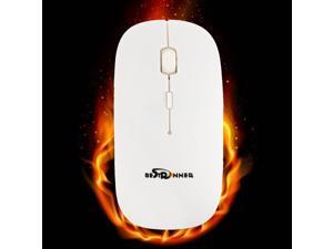 BESTRUNNER Pro 2.4GHz Wireless Optical Mouse Mice+USB Receiver For PC Laptop-White