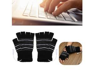 5V USB Powered Half Finger Heating Heated Winter Hand Warmer Gloves X'mas Christmas Gift