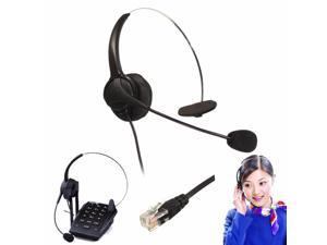 Monaural RJ11 Noise Cancelling Call Center Operator Telephone Headset Microphone