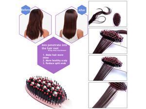 Electric Ceramic Hair Straightener Comb Ion Brush Auto Straight Tool Massage LCD Temperature Control