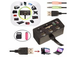 9 in 1 3 Port USB 2.0 Multi Splitter HUB Adaptor Support TF/MS/M2/SD Card For PC Laptop
