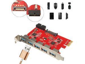 5 Port PCI-E PCI Express to USB 3.0 20pin HUB 15Pin SATA Card Adapter for WIN7/8