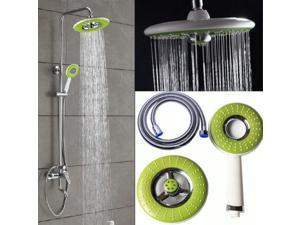 Bathroom Water Saving Round Spray Rainfall Shower Head Handset With Holder Hose
