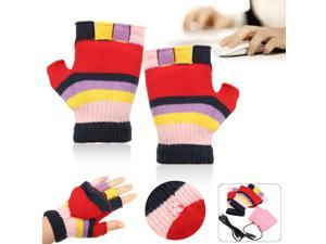 Laptop USB Heating Half Finger Full Finger Soft Warm Hot Hand Warmer Gloves + USB Cable
