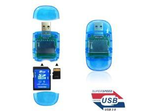 USB 3.0 High Speed Mini Memory Card Reader Memory Adapter For TF/SD/SDHC/SDXC-blue