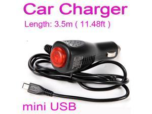 3.5M 11.48ft 12-24V 2A Micro USB Car Charger Cigarette Lighter Power Charging Adapter Cable for Android Phone DVR Camera GPS Car Radar