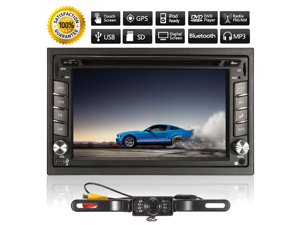 6.2 InDash Double 2DIN Car Stereo DVD Player Bluetooth MP3 GPS Navigation+Camera