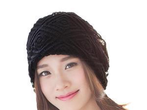 Large diamond lattice scarf solid color ear cap-Black-? 56-58cm