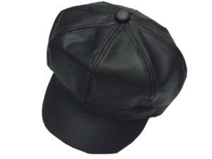 PU solid leather octagonal Beret hat-Black-One Size