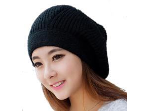 Women warm Winter knitted hat-Black-One Size