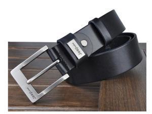 JP old wheel belt leather belt wild casual denim men's leather belt black