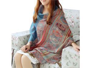 Fashion Women's Soft Ethnic Jacquard Tassel Scarf Thick Warm Large Square Scarf