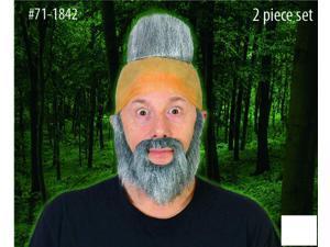 Hunter Man Grey Mohawk Bald Head & Beard Costume Accessory Set One Size
