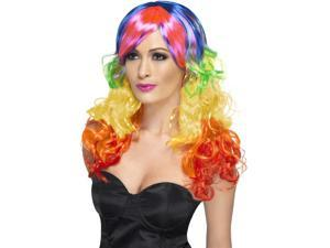 Curly Long Costume Wig Adult: Rainbow One Size