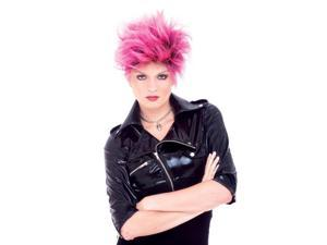 Punk Girl Pink & Black Adult Costume Wig One Size