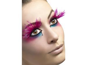 Feather Plume Costume Eyelashes Adult: Pink Feather One Size