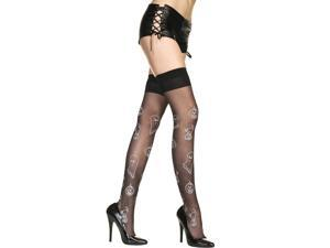 Sheer Halloween Ghost Pumpkin Print Thigh Hi Costume Hosiery One Size