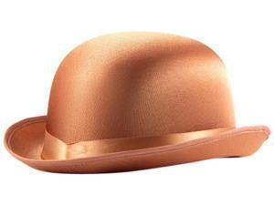 Satin Costume Derby Hat Brown One Size
