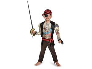 Pirate Toddler Muscle Chest Tattoo Costume Large 4-6