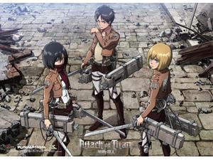 Premium Wall Scroll - Attack on Titan - New Mikasa, Eren & Armin Art ge60798