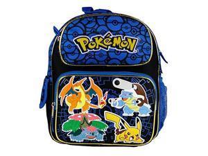 "Small Backpack - Pokemon - Pikachu Black & Blue 12"" School Bag New 847118"