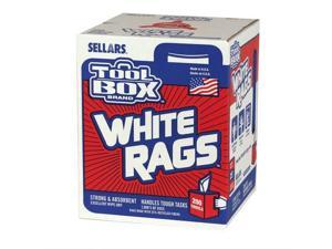 6 Pack Sellars Wipers & Sorbents 58202 Toolbox Z400 White Rags- 200Ct