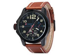 Men Quartz Watch with Date Chronograph & PU Leather Strap