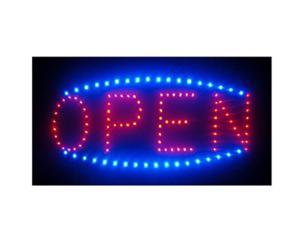 """SuperViewVision Ultra Bright Red LED OPEN Sign with Blue LED Border - 16""""x6.7"""""""