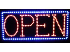 """SuperViewVision Ultra Bright Red LED OPEN Sign With Blue LED Border - 24""""x12"""""""