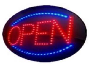 """SuperViewVision Ultra Bright Red Oval LED Open Sign + Blue LED Border 13""""x22"""""""