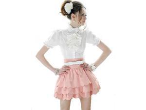 KMFEIL Lady Multilayer Petal Edges Empire Waist Mini Tutu Skirt