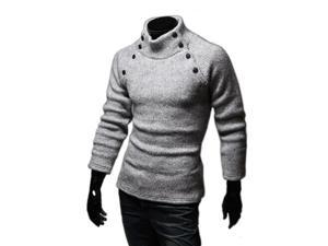KMFEIL Men Double Buttons Decoration Korean Long Sleeve Pullover Sweater