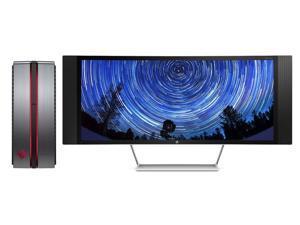 HP OMEN 870 Desktop with HP Envy 34c 34-inch Curved Media Display ( Intel i7 Quad-core, 32GB RAM, 5TB HDD+480GB SSD, NVIDIA GeForce GTX 1070, Blu-ray, Liquid Cooling, Win 10 Pro)