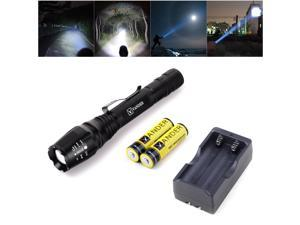 Vander Metal shell Zoomable 2000 Lumen Focus CREE XM-L T6 LED Flashlight Torch + 18650 Batteries + Charger