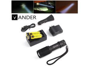 Vander 5000LM T6 LED Flashlight Torch 5 Modes Zoom Tactical Light Lamp+Battery+Charger