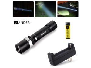 Vander 5000LM XML T6 Flashlight 18650 Rechargeable Zoomable LED Torch Lamp&Charger