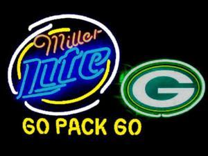 Fashion Neon Sign Miller Lite Green Bay Packers Handcrafted Real Glass Lamp Neon Light Neon Sign Beerbar Sign Neon Beer Sign 24x20