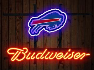 Fashion Neon Sign Budweiser Buffalo Bills Handcrafted Real Glass Lamp Neon Light Neon Sign Beerbar Sign Neon Beer Sign 19x15
