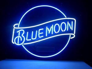 Fashion Neon Sign BLUE MOON LAGER BEER Handcrafted Real Glass Lamp Neon Light Neon Sign Beerbar Sign Neon Beer Sign 19x15