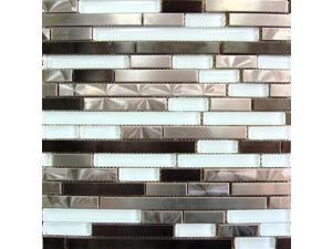 Sample of Stainless Steel Glass Mix 12x12 Interlock Mosaic